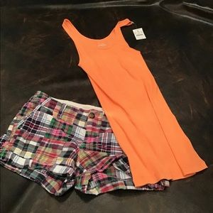 J Crew tank top and old navy shorts